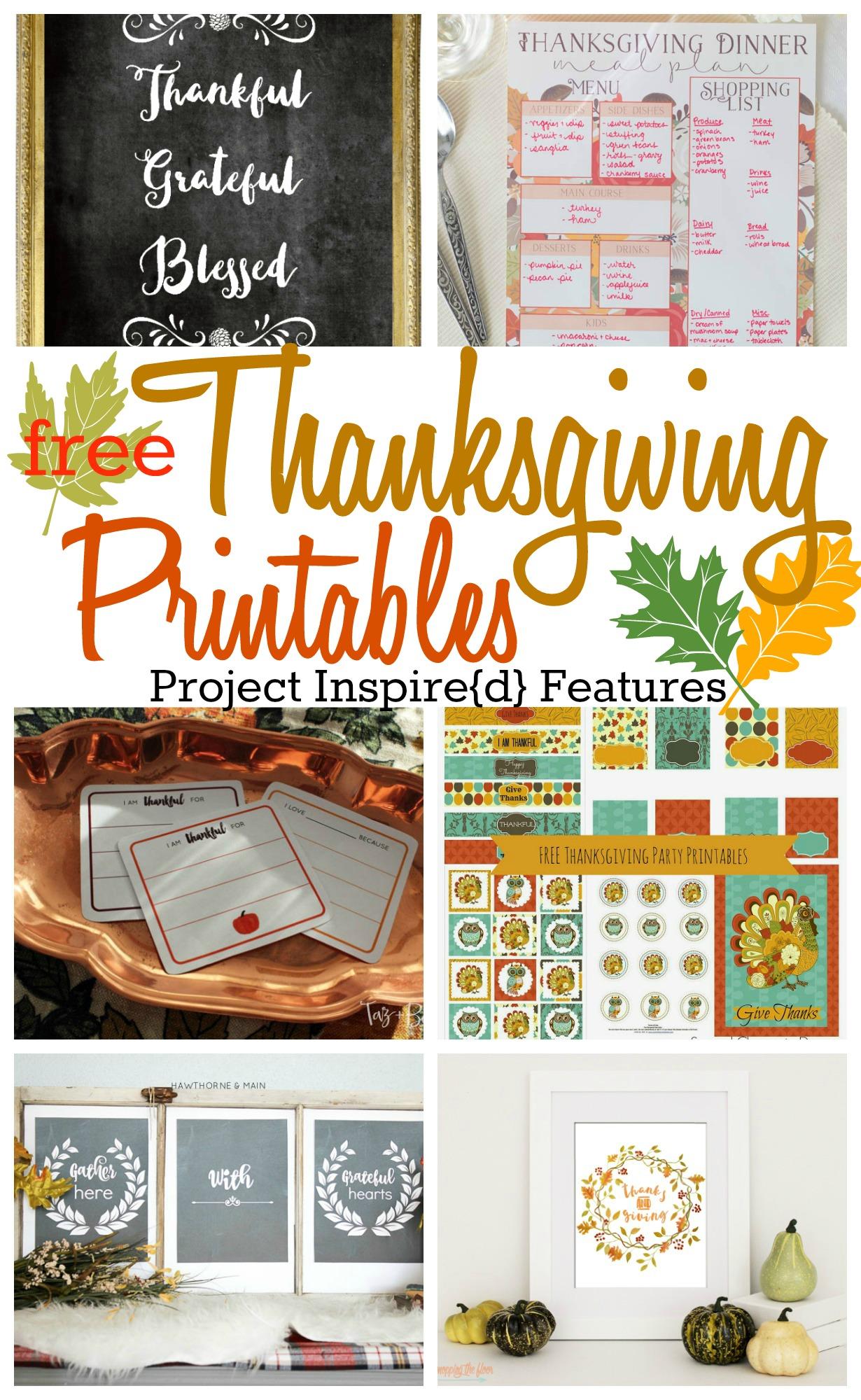 6 Free Thanksgiving Printables