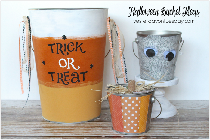 Three fun ways to jazz up a plain plastic bucket for Halloween using paint, paper and washi tape.