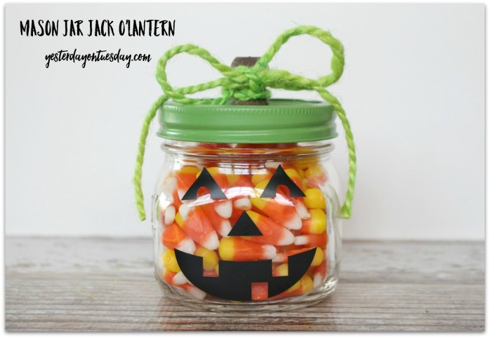 Transform a Mason Jar into a cute Jack O'Lantern for Halloween
