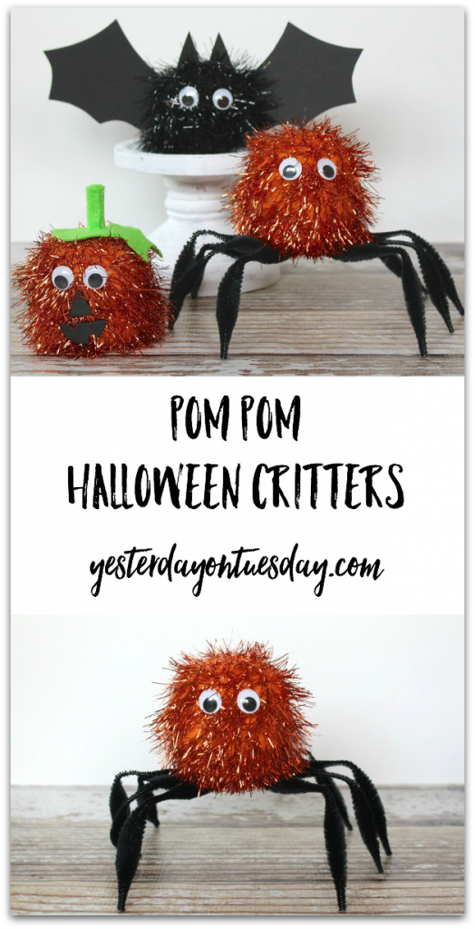 DIY Pom Pom Halloween Critters, a great kid's craft