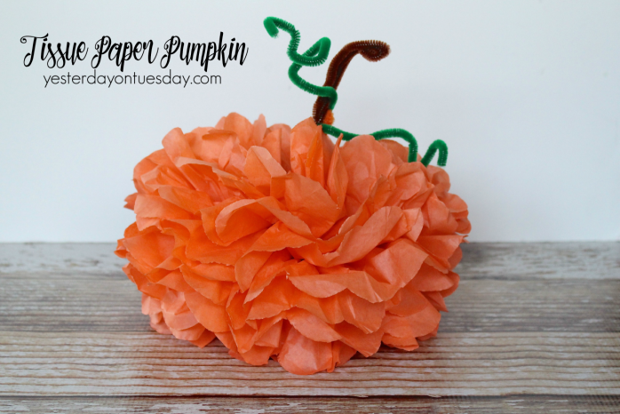 Transform tissue paper into a darling pumpkin for Halloween