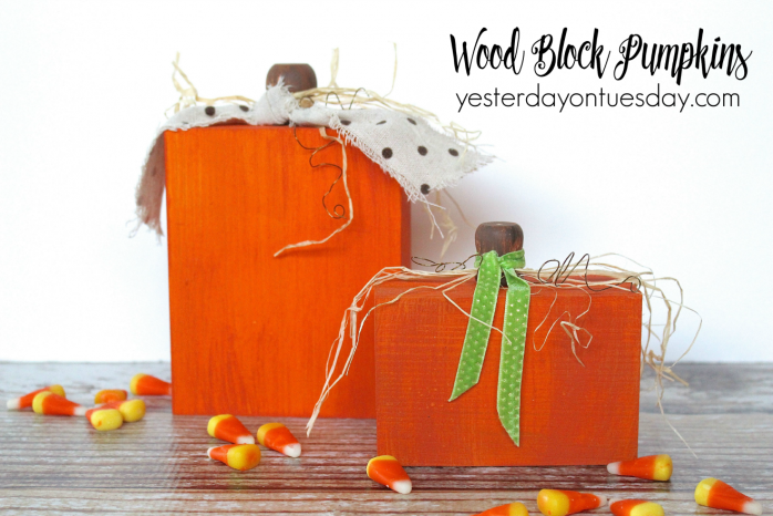How to transform wood blocks into cute pumpkins for Halloween and Fall