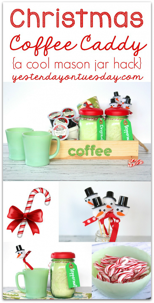 How to make a Christmas Coffee Caddy, including a cool mason jar hack and DIY Peppermint Coffee Creamer