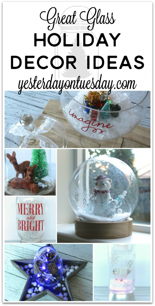 Great Glass Holiday Decor Ideas including a giant snow globe, mason jar craft and more