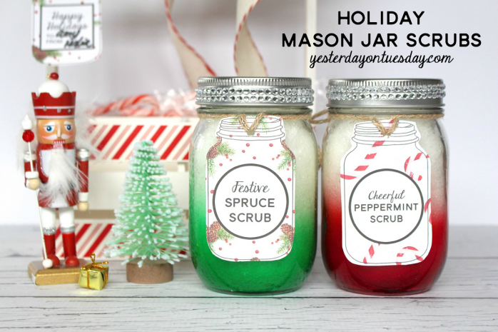 Holiday Mason Jar Scrub Recipes and printable tags and labels, great Christmas gift.
