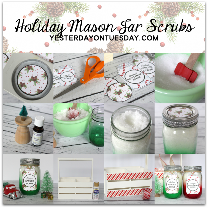 Holiday Mason Jar Scrubs and Printable Tags: Simple and super festive Christmas gift idea for family, friends, neighbors and teachers. Spruce and Peppermint scents make them fabulously festive!