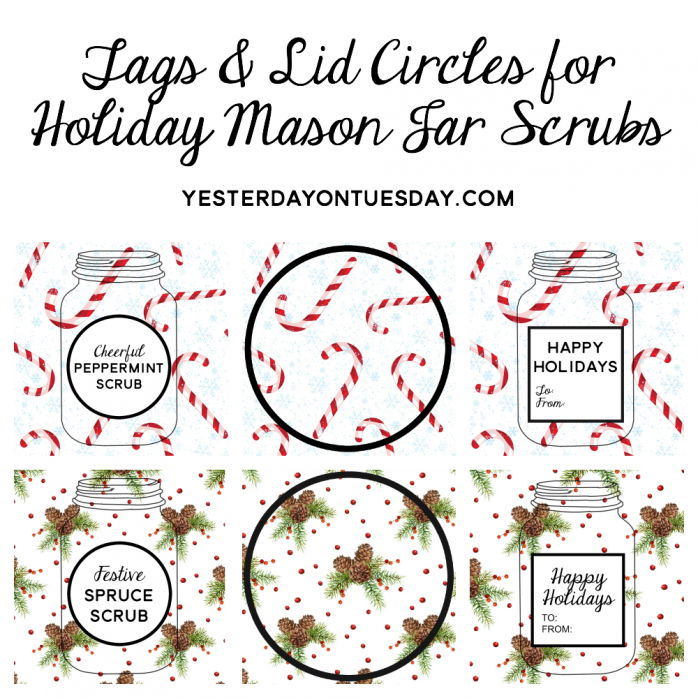 Holiday Mason Jar Scrubs Printables