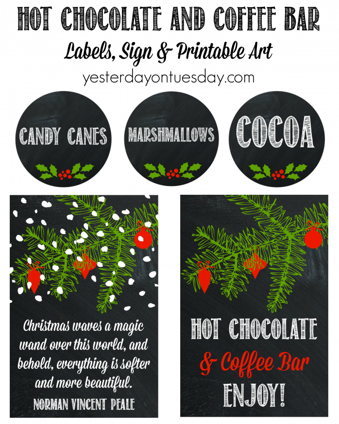 Hot Chocolate and Coffee Bar printable labels, art and a sign. Chalkboard style, fun and festive for Christmas and the Holiday Season.