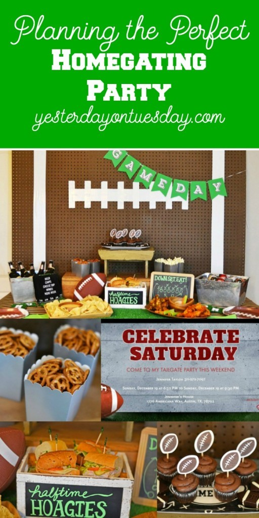 How to plan an awesome homegating football party including recipes, decor, invites and party ideas!