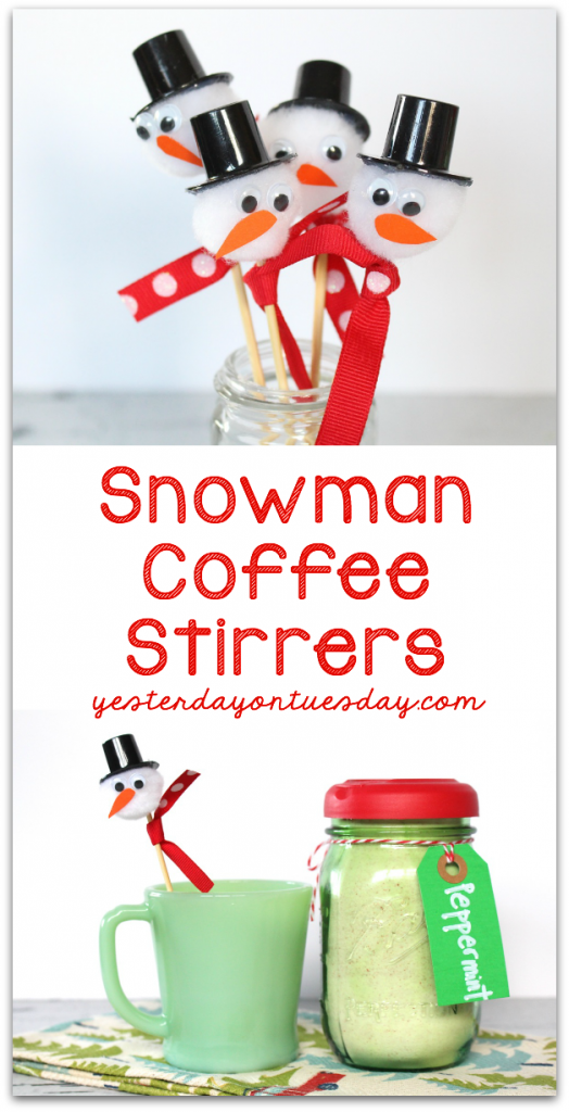 DIY Snowman Coffee Stirrers, a sweet touch for your holiday or Christmas party!