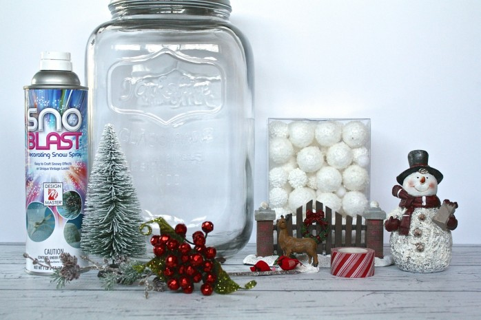 How to make a gorgeous and festive Snowy Scene in a Jar for Christmas and Holiday decorating