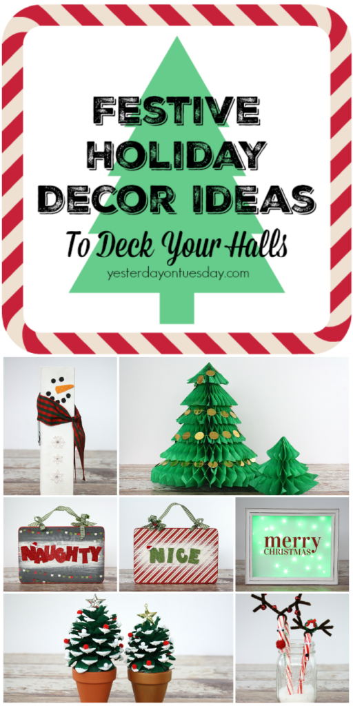 Festive Holiday Decor Ideas  including a honeycomb Christmas trees, a Naughty or Nice sign, a giant clothespin snowman picture holder and much more.