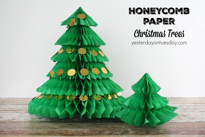 DIY Honeycomb Paper Christmas Trees