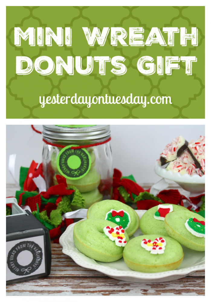 Recipe and ideas for Mini Wreath Donuts Gift with matching wreath tag. Stack donuts in a mason jar for a cute presentation!