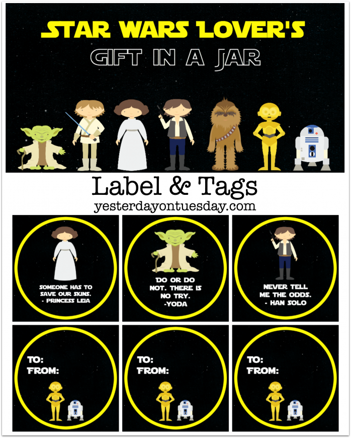 How to assemble a Star Wars Lover's Gift in a Jar plus free printable labels, tags and quotes