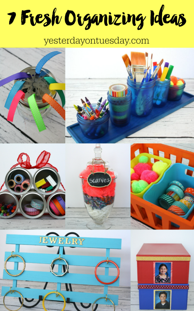 7 Fresh Organizing Ideas including a desk set, mini paint can organizer, ribbon organizer and more!
