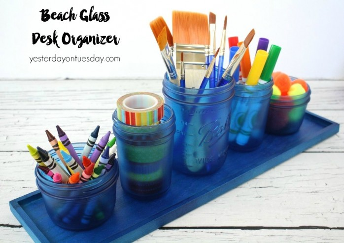 How to make a Beach Glass Desk Organizer from Mason Jars, spray paint and a plain wood tray.