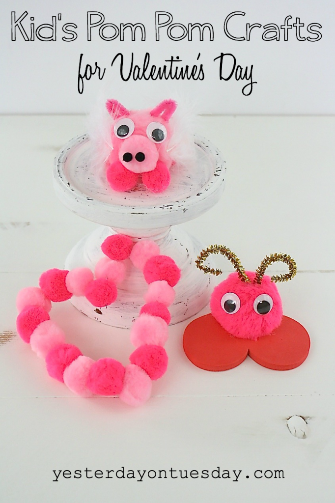 Kid's Pom Pom Crafts for Valentine's Day including a Cu-pig, heart and love bug