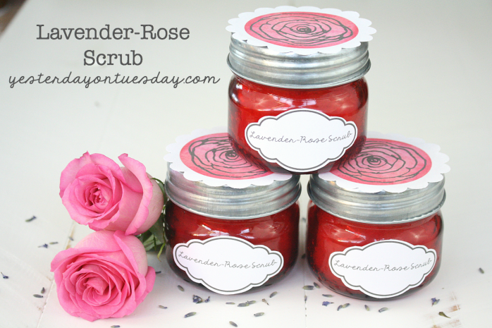Lavender-Rose Scrub and printable labels, great gift for Valentine's Day or any time.