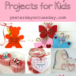 Sweet Valentine's Day Projects for kids including handmade valentines, doily treat bags, love bugs candy and teacher gifts
