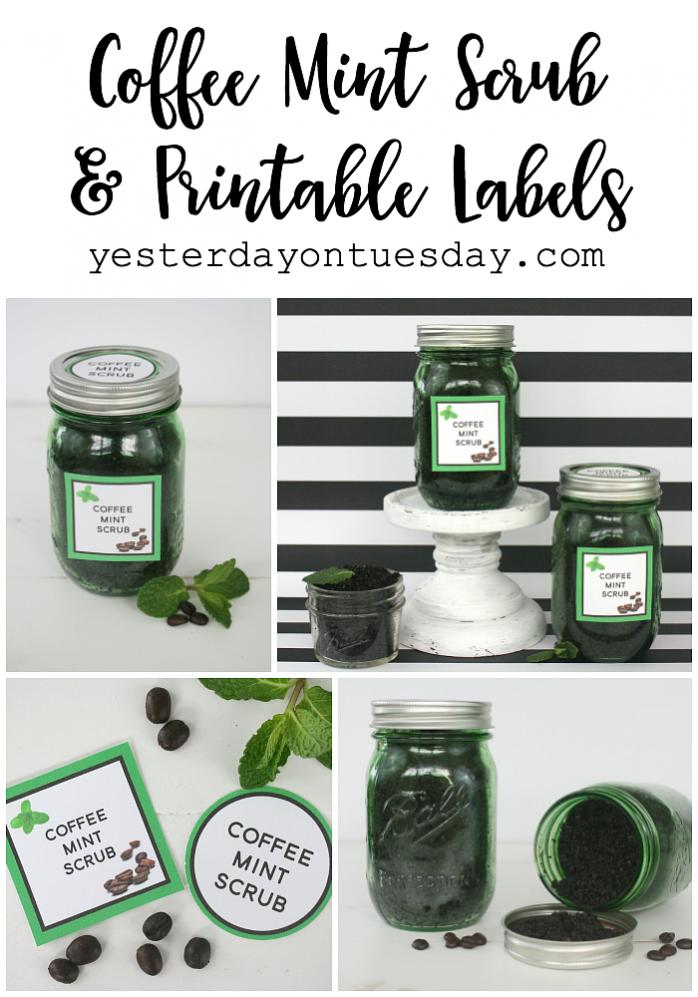DIY Coffee Mint Scrub in a Mason Jar plus free printable tags and labels.