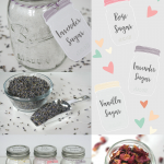 How to make DIY Flavored Sugar. It's easy to make Lavender, Rose and Vanilla Flavored Sugar plus printable labels and tags.