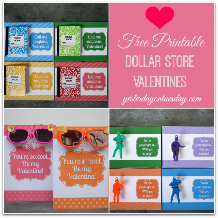 Free Printable Dollar Store Valentines, great for kids and their class parties!