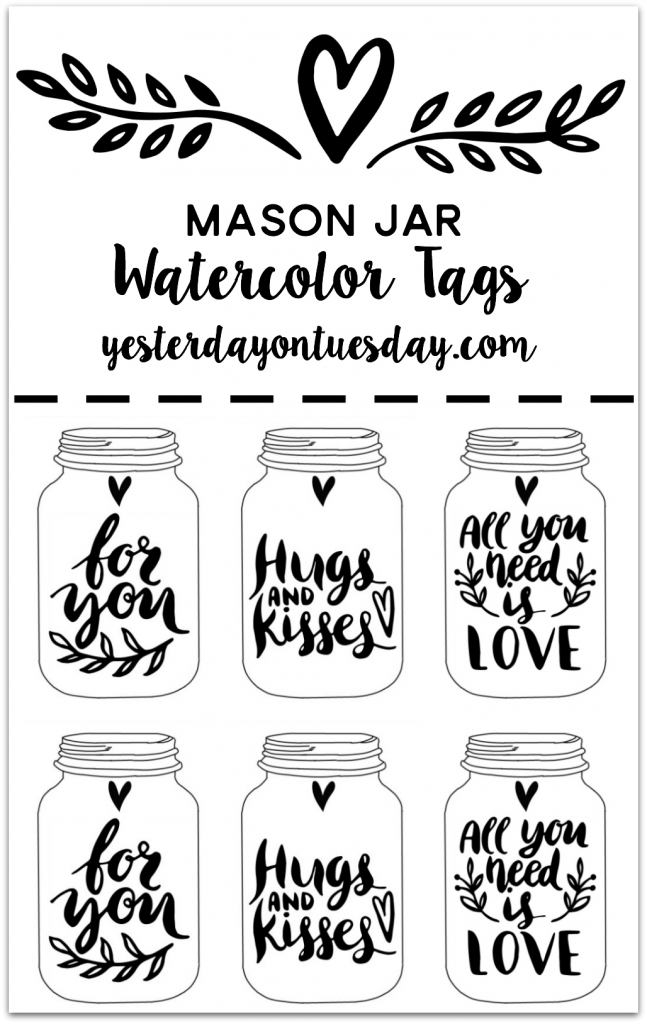 photograph regarding Mason Jar Printable identified as Mason Jar Watercolor Tags Yesterday Upon Tuesday