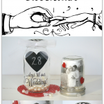 DIY Mason Jar Wedding Countdown Calendar, a thrifty and cute way to count down to the big day for brides, grooms and families!