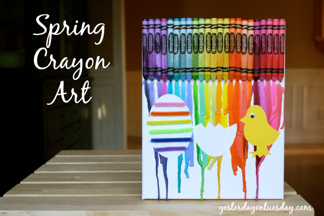 Spring Crayon Art, a fun DIY kid's Easter craft project with canvas, crayons and pipe cleaners!