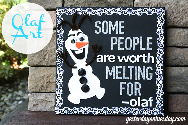 Make darling Olaf canvas art, a sweet Frozen themed decor item your kid will love!