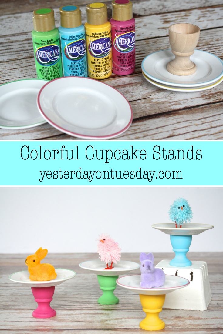 DIY Colorful Cupcake Stands, perfect for Easter and Spring as well as kid's birthday parties!