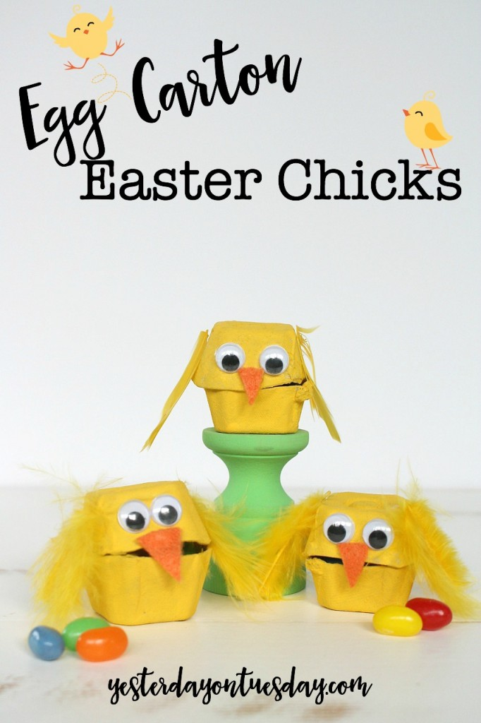 DIY Egg Carton Easter Chicks, a great spring craft for kids! Part of Craft Lightning.