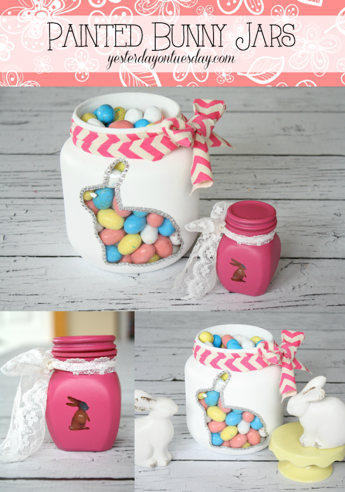 Painted Bunny Jars, an easy mason jar project for Easter