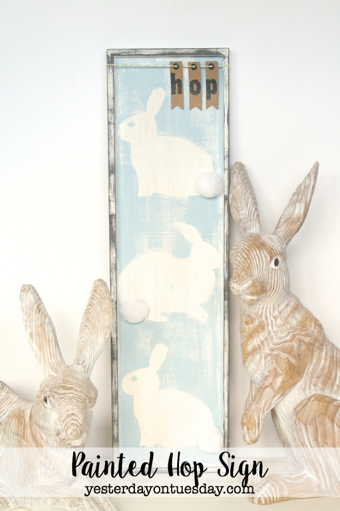 Lovely Neutral Easter Decor Ideas, including a painted HOP bunny sign and polka dot egg cups.