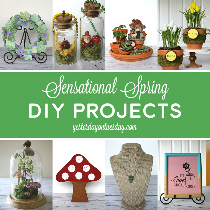 Sensational Spring DIY Projects including a DIY Garden Stone, Fairy Garden, mason jar art and more.
