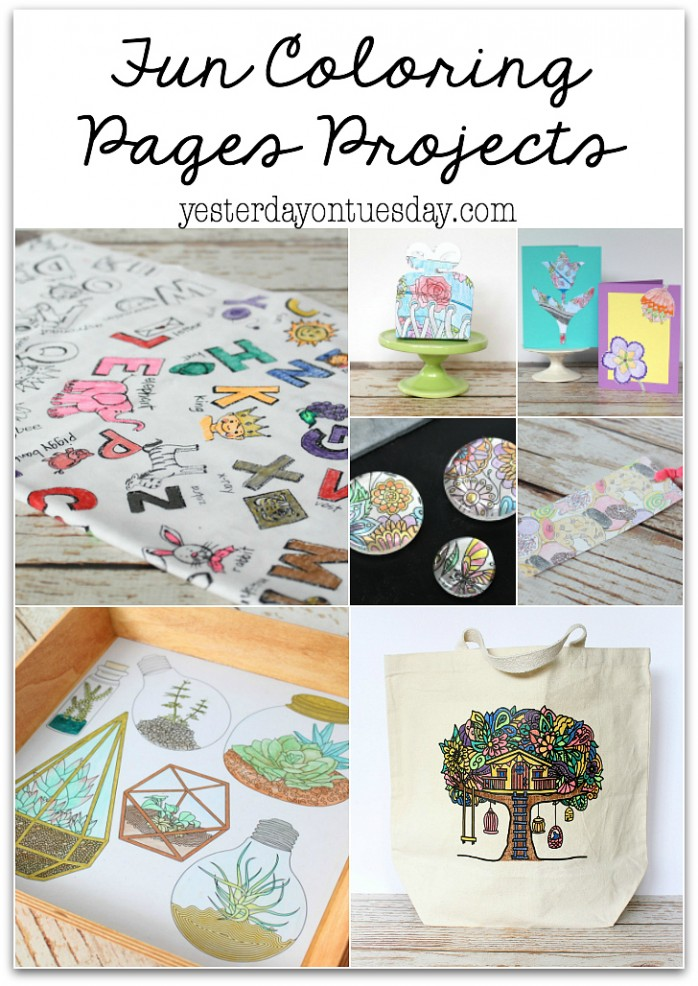Fun Projects you can make with coloring pages including a tote bag, cards, a tray, magnets, a gift box, bookmark and more!