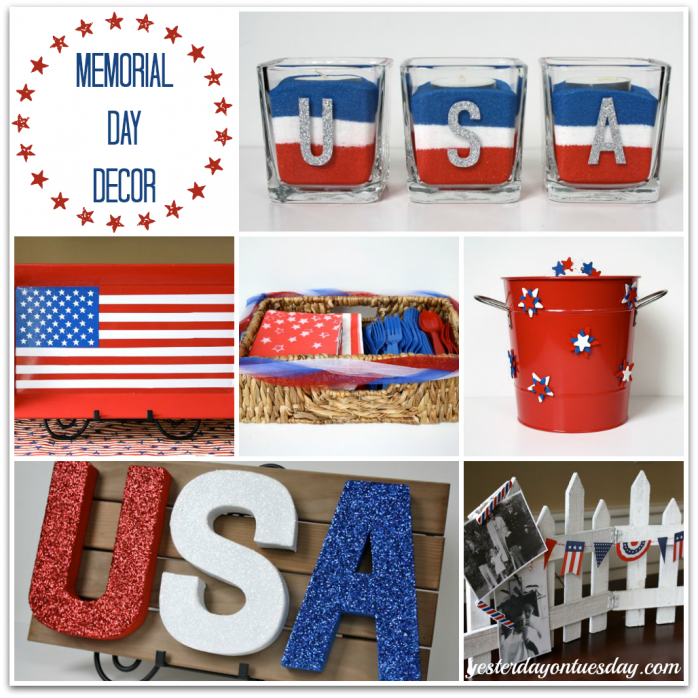 Memorial Day Decor/4th of July Entertaining Ideas:  Touching and fun ways to incorporate red, white and blue!