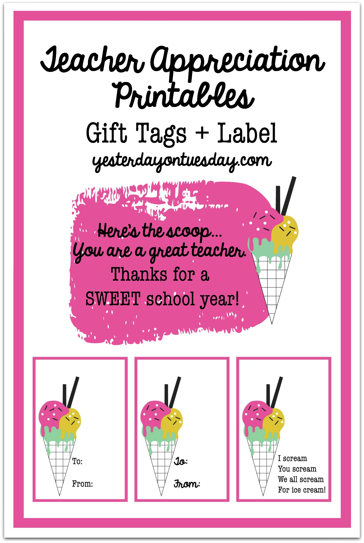 Teacher appreciation gift in jar yesterday on tuesday teacher gift in a jar ice cream themed teacher appreciation gift in a jar with negle Images