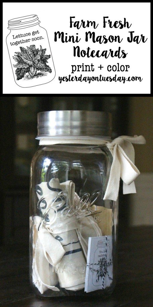 Farm Fresh Mini Mason Jar Notecards: Darling little mason jar themed notecards to print, plus a cute mason jar gift idea.