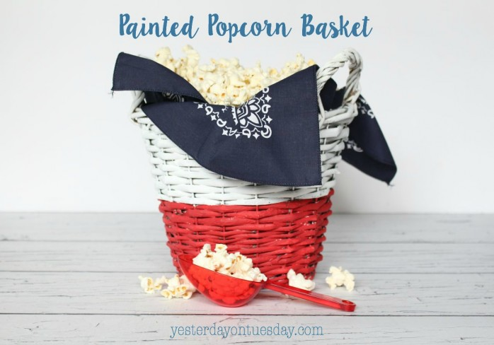 Painted Popcorn Basket, awesome for 4th of July