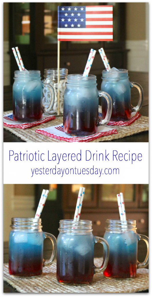 Patriotic layered drink in a mason jar yesterday on tuesday for Fourth of july drinks non alcoholic