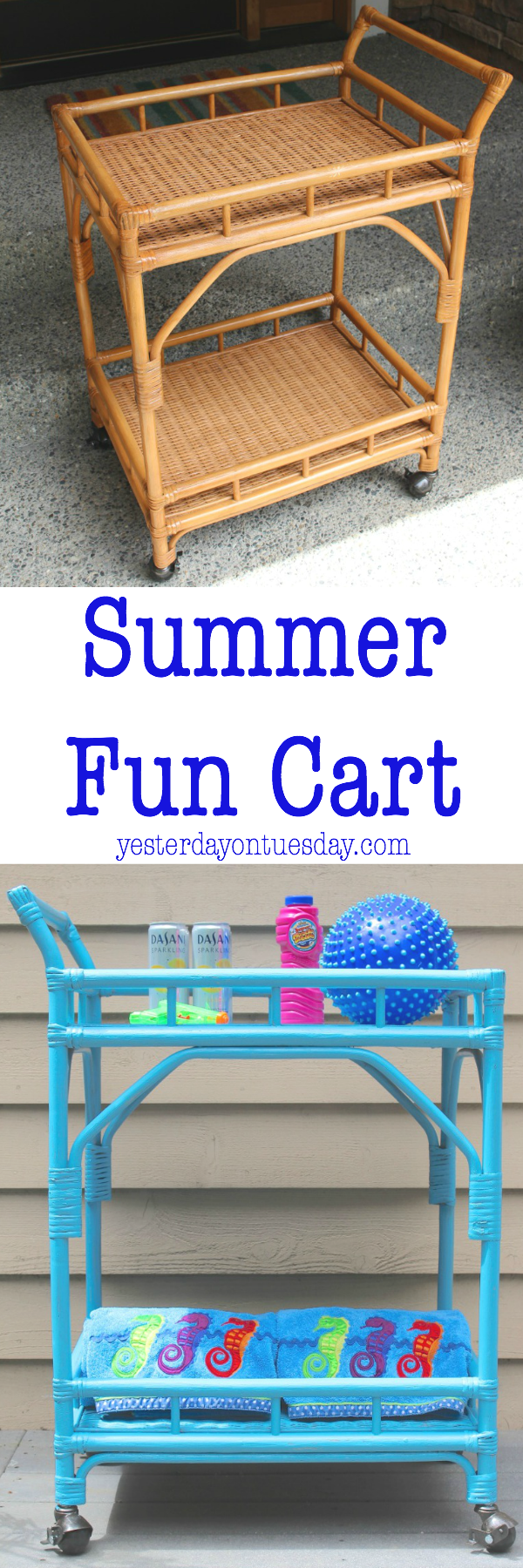 Summer Fun Cart: How to transform a plain beverage cart into a Summer Fun Cart.