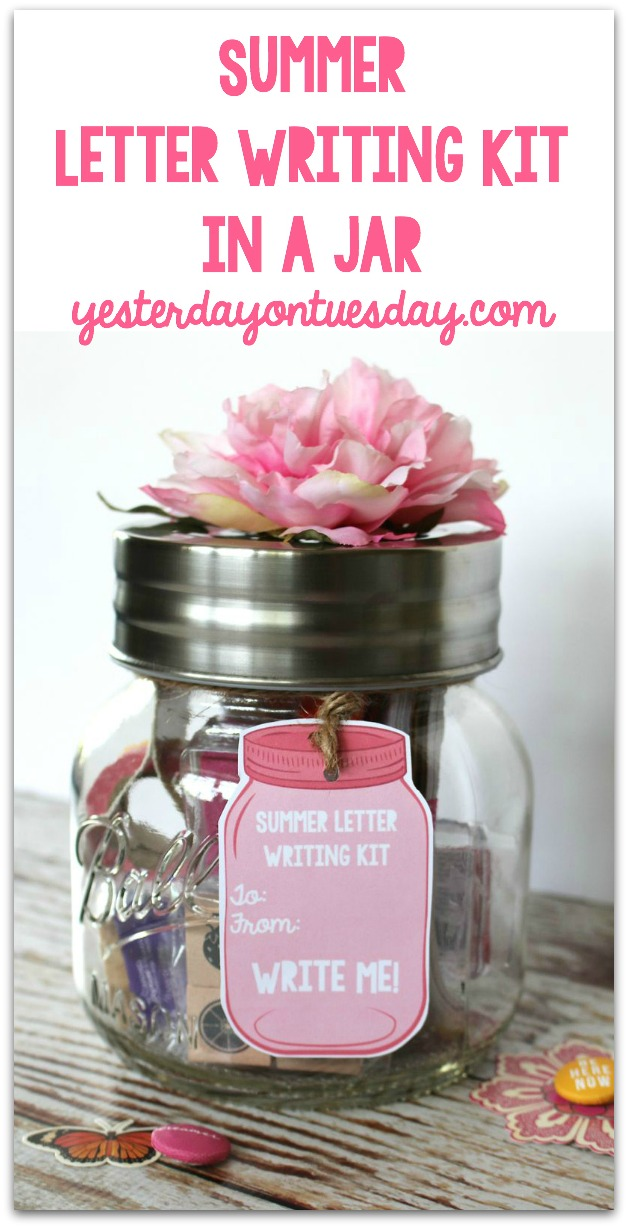 summer letter writing kit in a jar