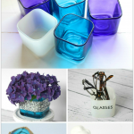 7 Gorgeous Ways to Reuse Glass Candle Holders including a beachy display, vase, place to corral glasses, desk set and more!