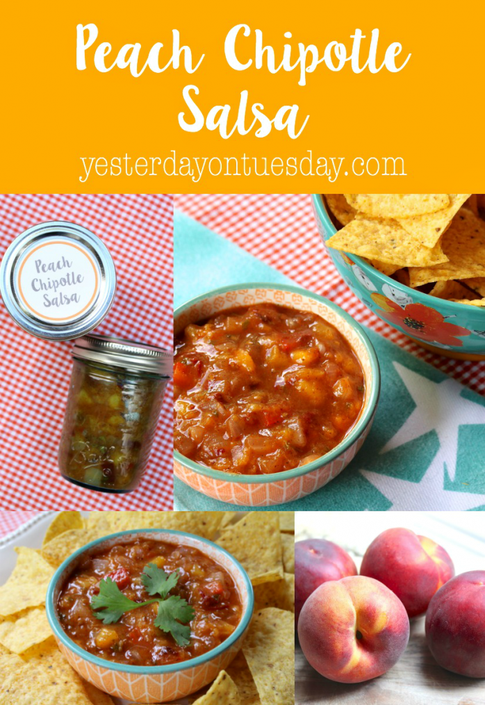 Peach Chipotle Salsa Recipe, one of the featured recipes for Can It Forward Day. Super easy to can and enjoy later! Great with chips.