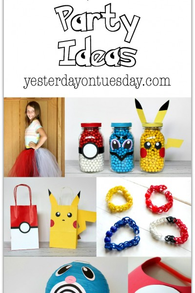 Pokemon Party Ideas: Including mason jar Pokemon, a Poliwag Lantern, loom band team bracelets, a Pokeball visor and more.