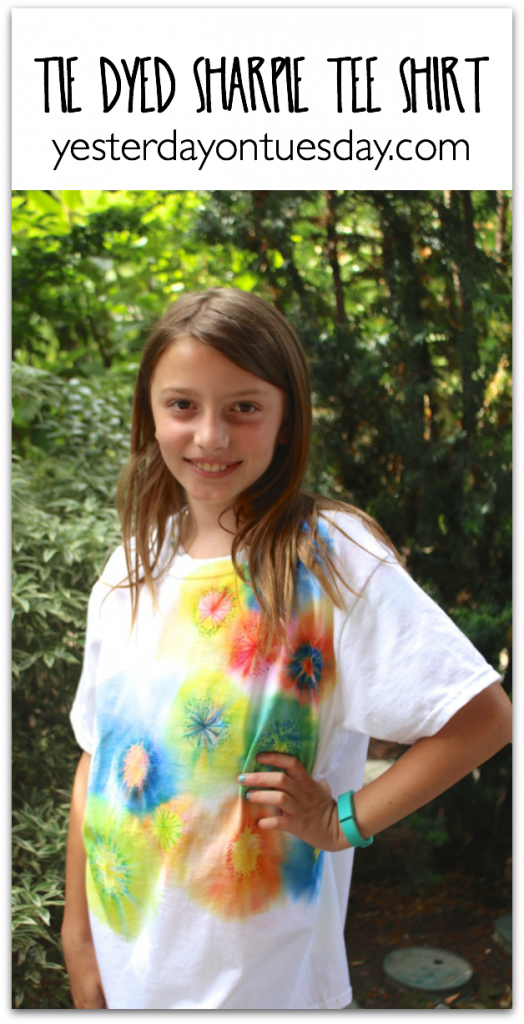 Tie Dyed Sharpie Tee Shirt, an awesome summer kid's craft