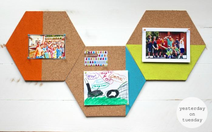 DIY Hexagon Bulletin Board, great back to school organizing idea for kids and  teens.