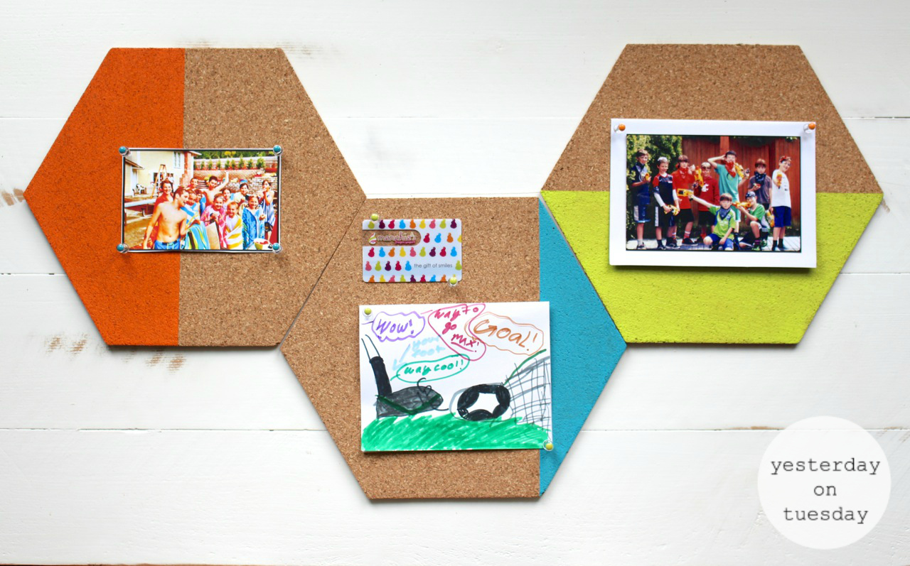 Hexagon bulletin board yesterday on tuesday for Painted cork board ideas